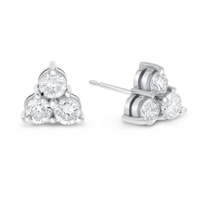14K White Gold Diamond Stud Earrings, 1.15 Carats