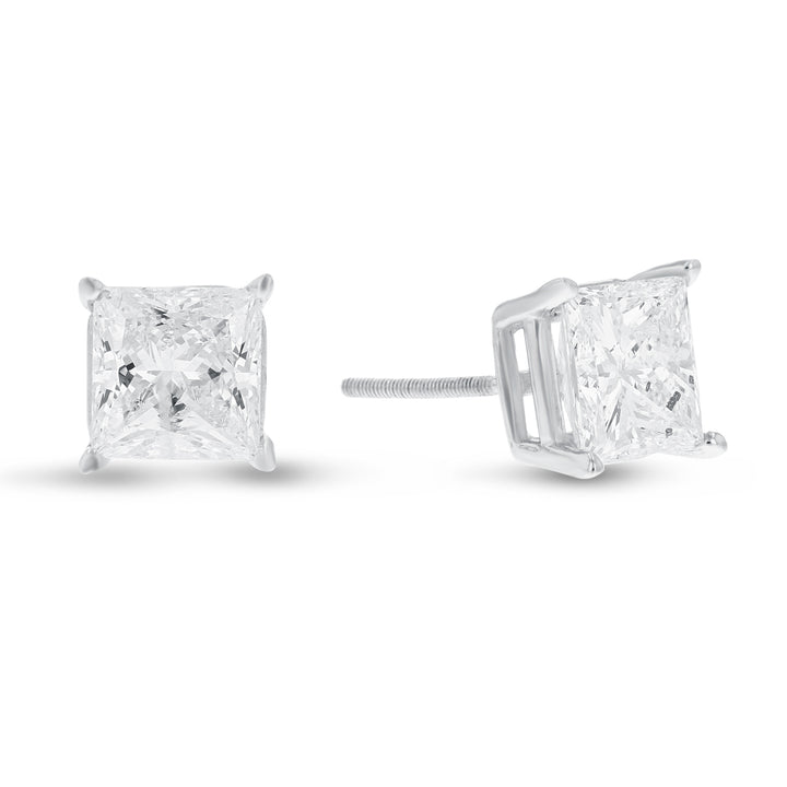 14K White Gold Princess Cut Diamond Stud Earrings, 3.32 Carats