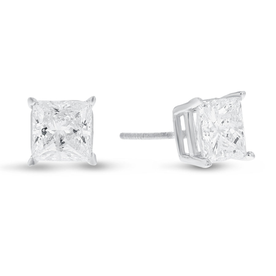 Princess Cut Diamond Stud Earrings, 3.32 Carats - R&R Jewelers