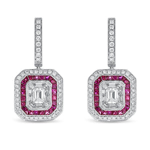 Illusion Set Diamond and Ruby Drop Earrings - R&R Jewelers