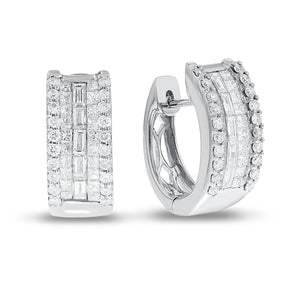 18K White Gold Huggy Earrings, 1.47 Carats
