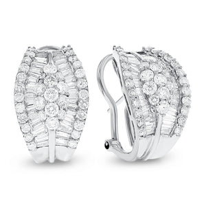 18K White Gold Diamond Earrings, 3.75 Carats
