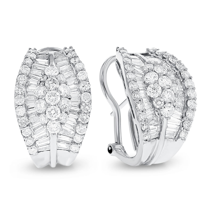 18K White Gold Diamond Earrings, 3.75 Carats - R&R Jewelers
