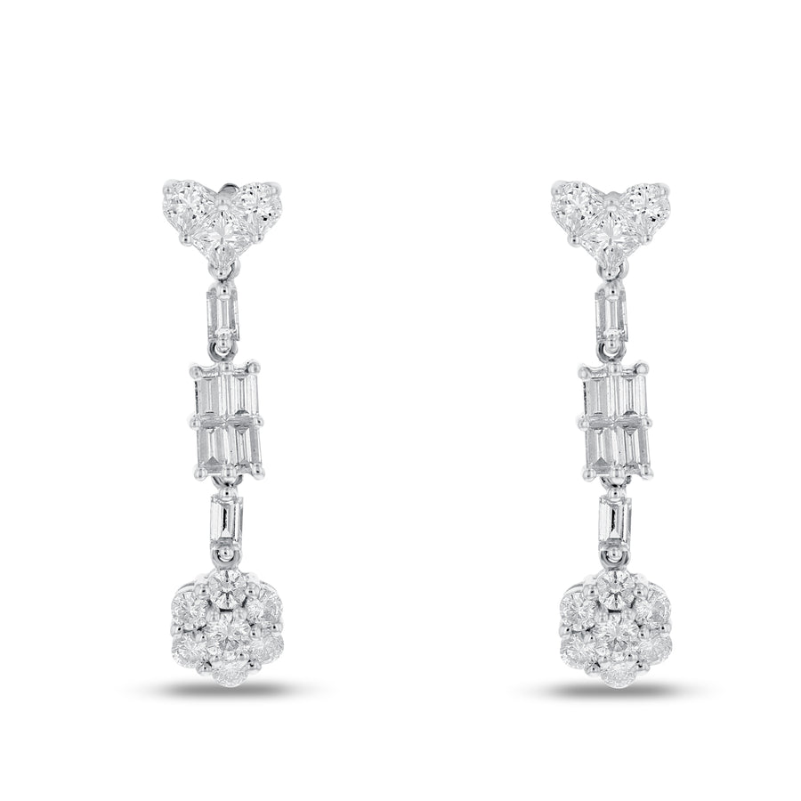 18K White Gold Diamond Earrings, 1.47 Carats - R&R Jewelers