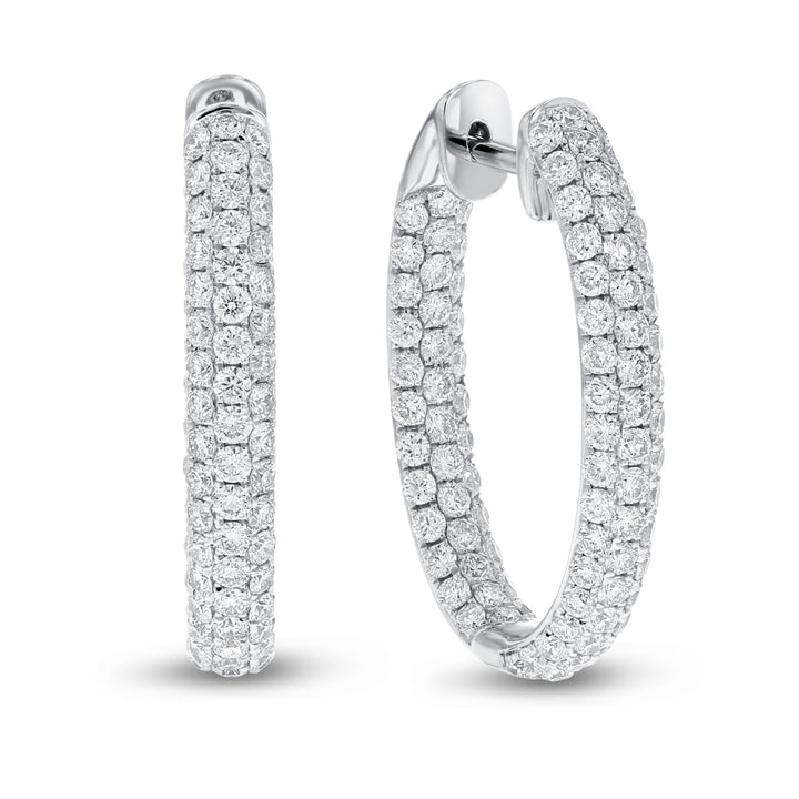 18K White Gold Hoop Earrings, 2.79 Carats