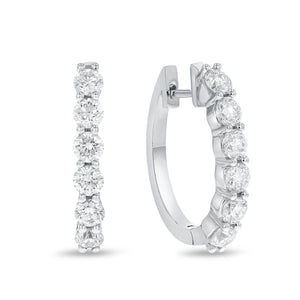 18K White Gold Huggy Earrings, 1.45 Carats