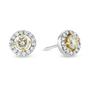 18K Two Tone Gold Diamond Stud Earrings, 0.92 Carats - R&R Jewelers