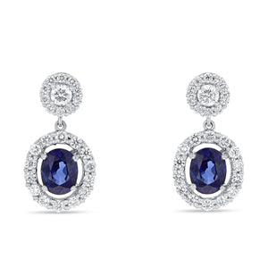 18K White Gold Sapphire and Diamond Earrings, 2.57 Carats