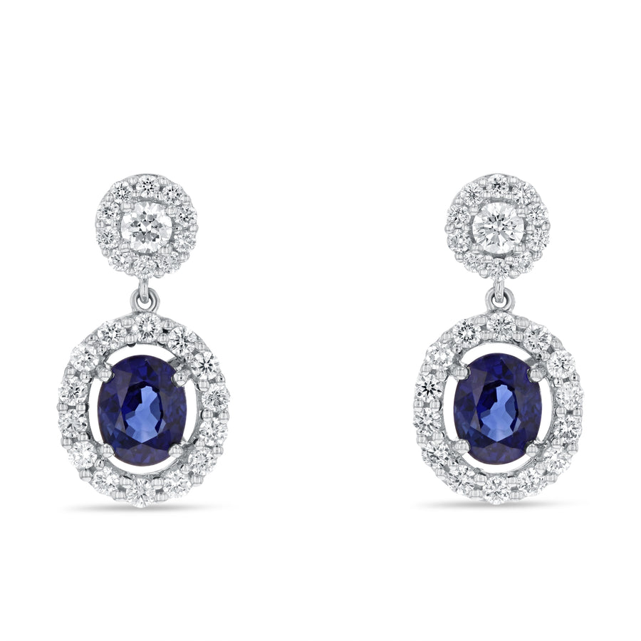 Oval Sapphire Drop Earrings - R&R Jewelers