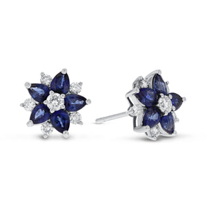 18K White Gold Sapphire and Diamond Earrings, 2.26 Carats