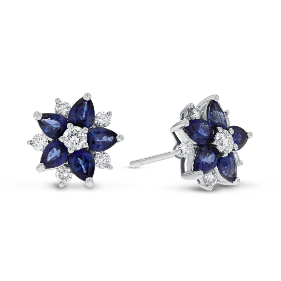 Diamond and Sapphire Star Stud Earrings - R&R Jewelers