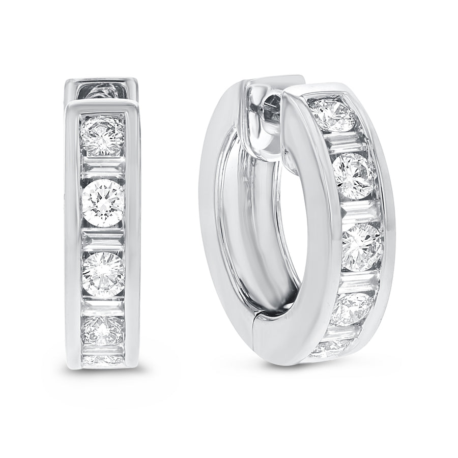Channel Set Diamond Huggie Earrings - R&R Jewelers