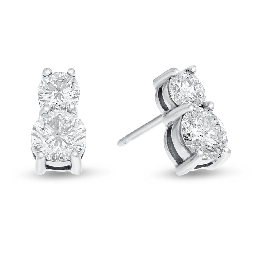 Two Stone Diamond Stud Earrings - R&R Jewelers