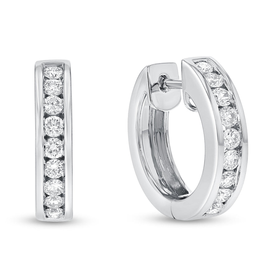 18K White Gold Huggy Earrings, 0.71 Carats