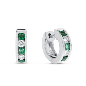 Channel Set Diamond and Emerald Huggie Earrings - R&R Jewelers