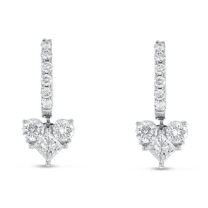 18K White Gold Diamond Earrings, 1.98 Carats - R&R Jewelers