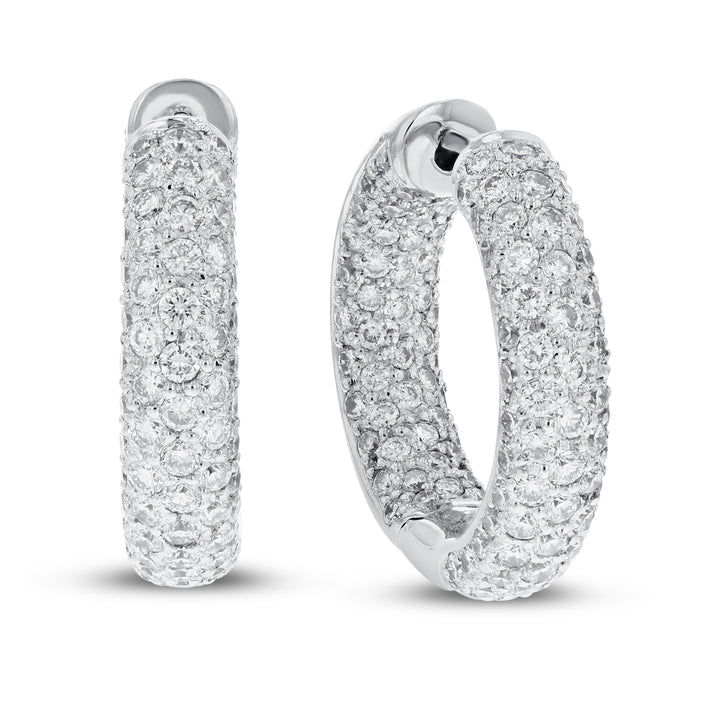 18K White Gold Hoop Earrings, 3.45 Carats