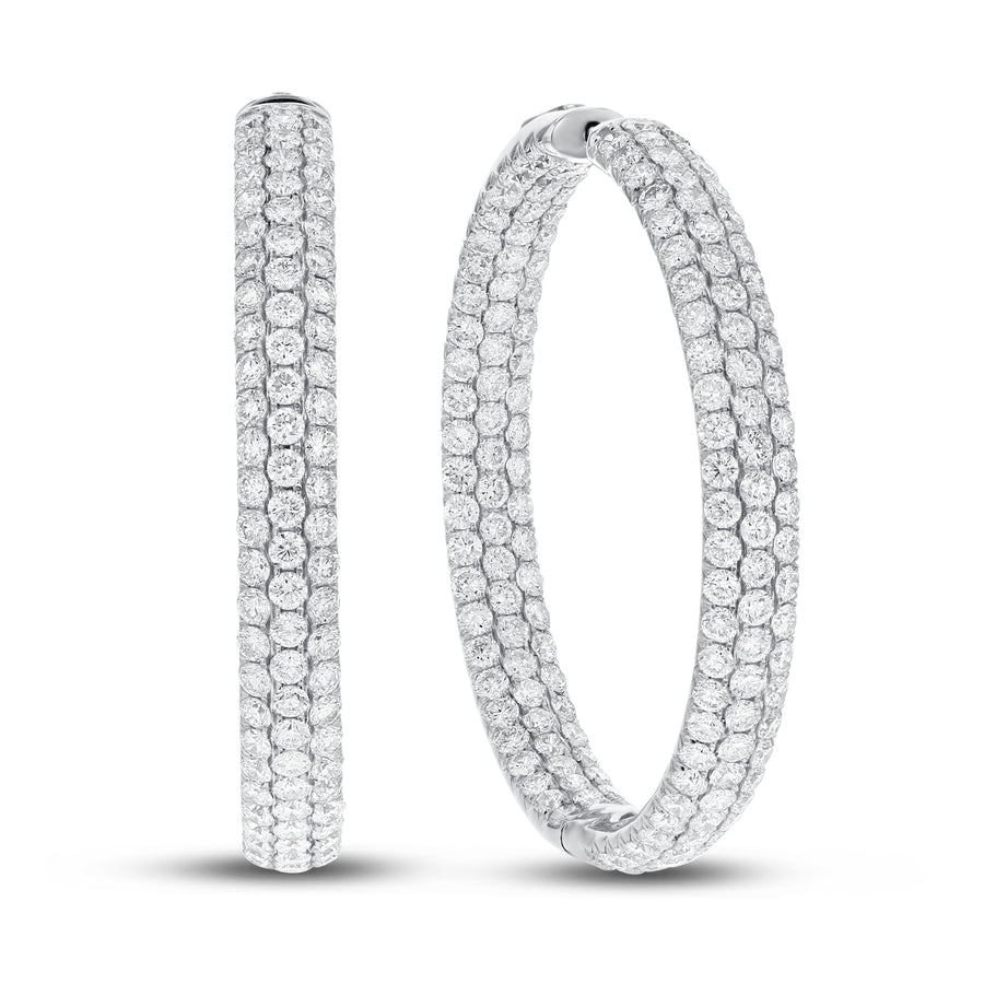 18K White Gold Hoop Earrings, 9.60 Carats
