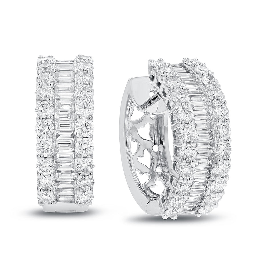 Baguette and Round Huggie Earrings - R&R Jewelers
