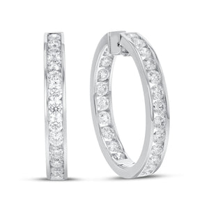 18K White Gold Hoop Earrings, 7.07 Carats