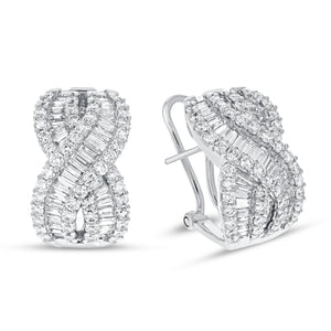Diamond Twist Omega Back Earrings - R&R Jewelers