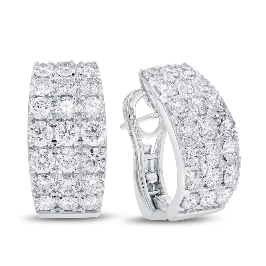 18K White Gold Diamond Earrings, 3.72 Carats - R&R Jewelers