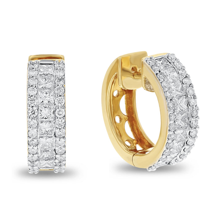 18K Yellow Gold Diamond Earrings, 1.92 Carats