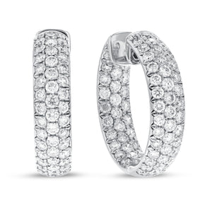 18K White Gold Hoop Earrings, 4.00 Carats