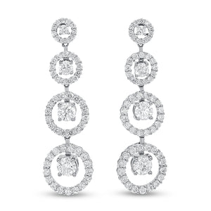 Diamond Halo Drop Earrings - R&R Jewelers
