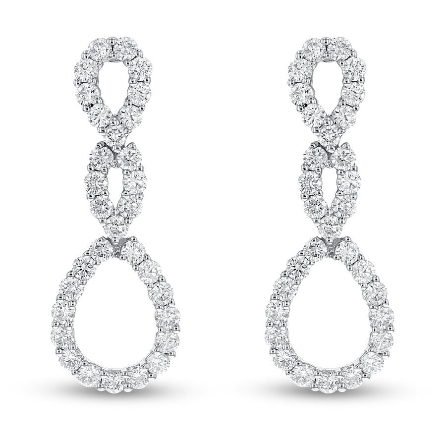 18K White Gold Diamond Earrings, 2.42 Carats - R&R Jewelers