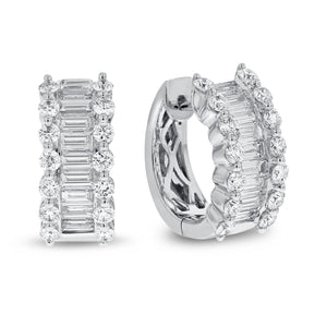 18K White Gold Hoop Earrings, 2.04 Carats