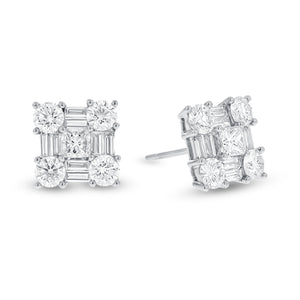18K White Gold Diamond Earrings, 2.05 Carats