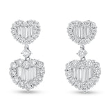 Heart Shape Diamond Baguette Drop Earrings - R&R Jewelers