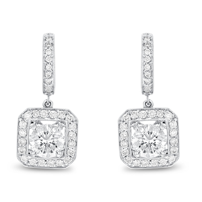 Milgrain Diamond Drop Earrings - R&R Jewelers