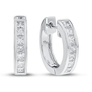 18K White Gold Huggy Earrings, 1.23 Carats
