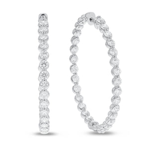 18K White Gold Hoop Earrings, 4.60 Carats - R&R Jewelers