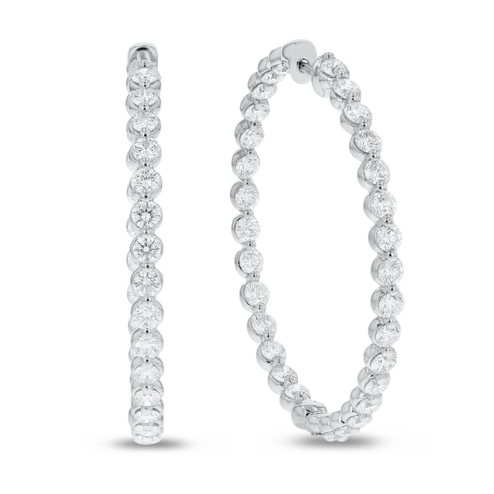 18K White Gold Hoop Earrings, 4.60 Carats