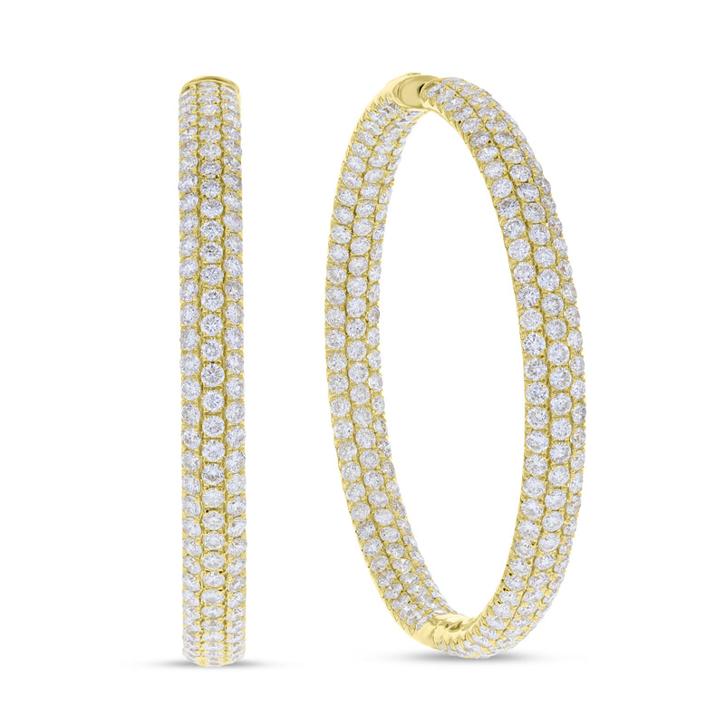 Inside Out Three Row Diamond Hoop Earrings - R&R Jewelers