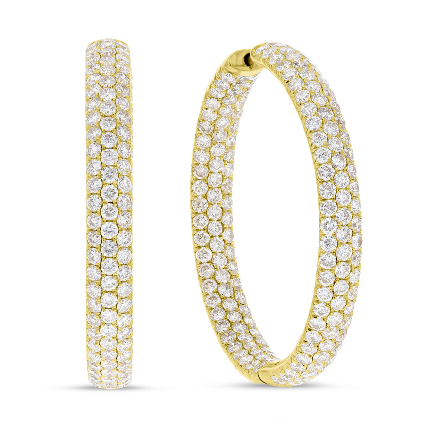 Three Row In and Out Diamond Hoop Earrings