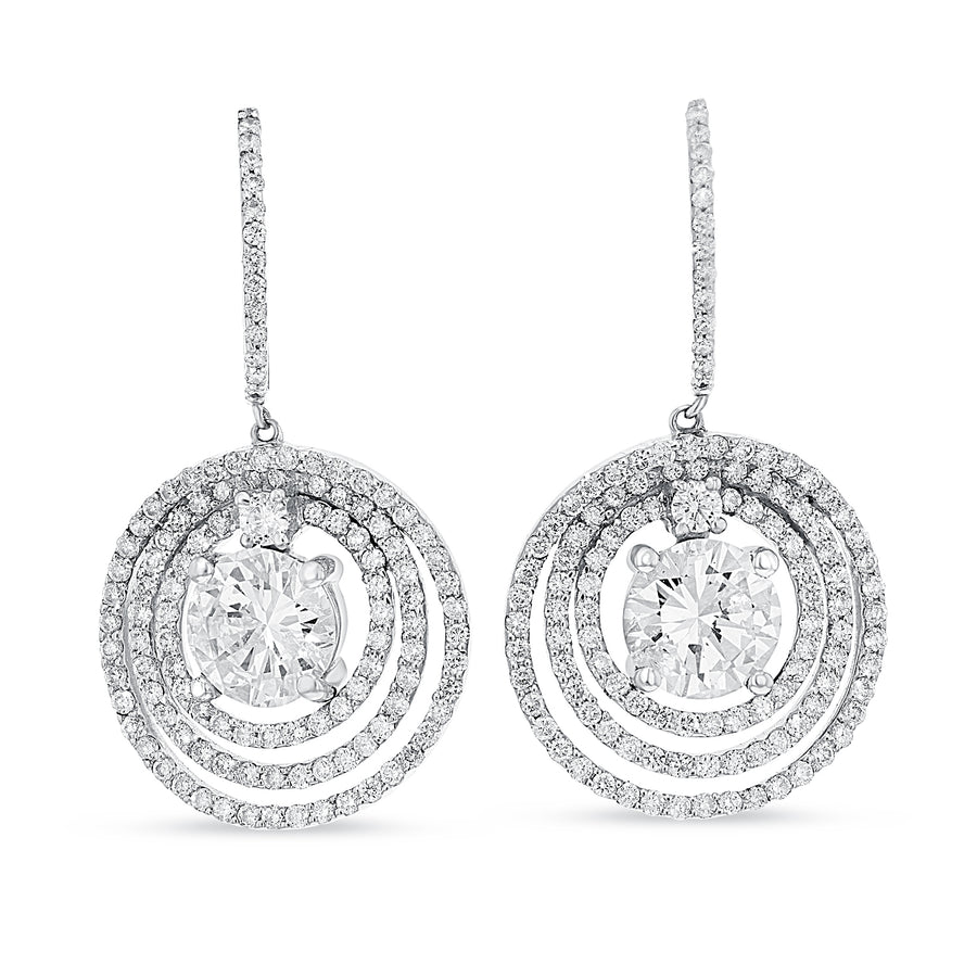 18K White Gold Diamond Earrings, 4.36 Carats - R&R Jewelers
