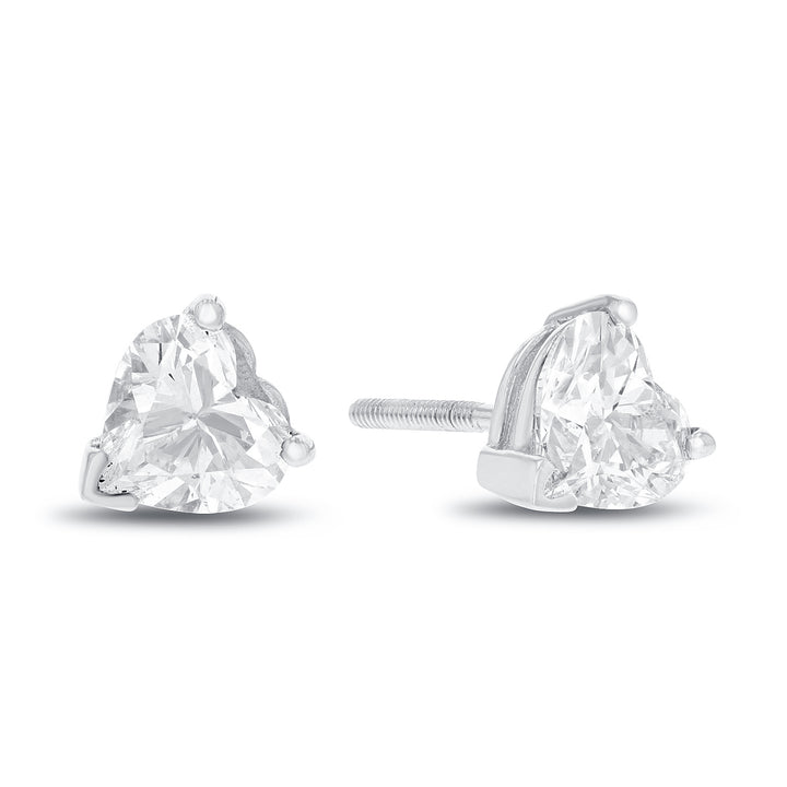 14K White Gold Diamond Stud Earrings, 2.02 Carats