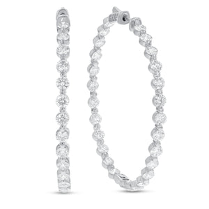 18K White Gold Hoop Earrings, 7.93 Carats