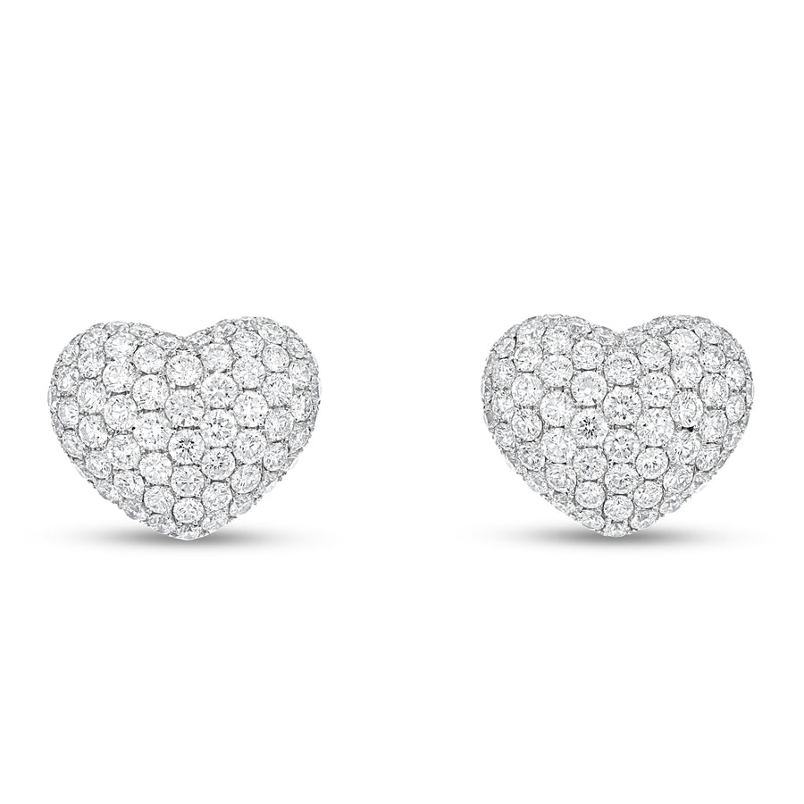 Diamond Pavé Heart Earrings - R&R Jewelers