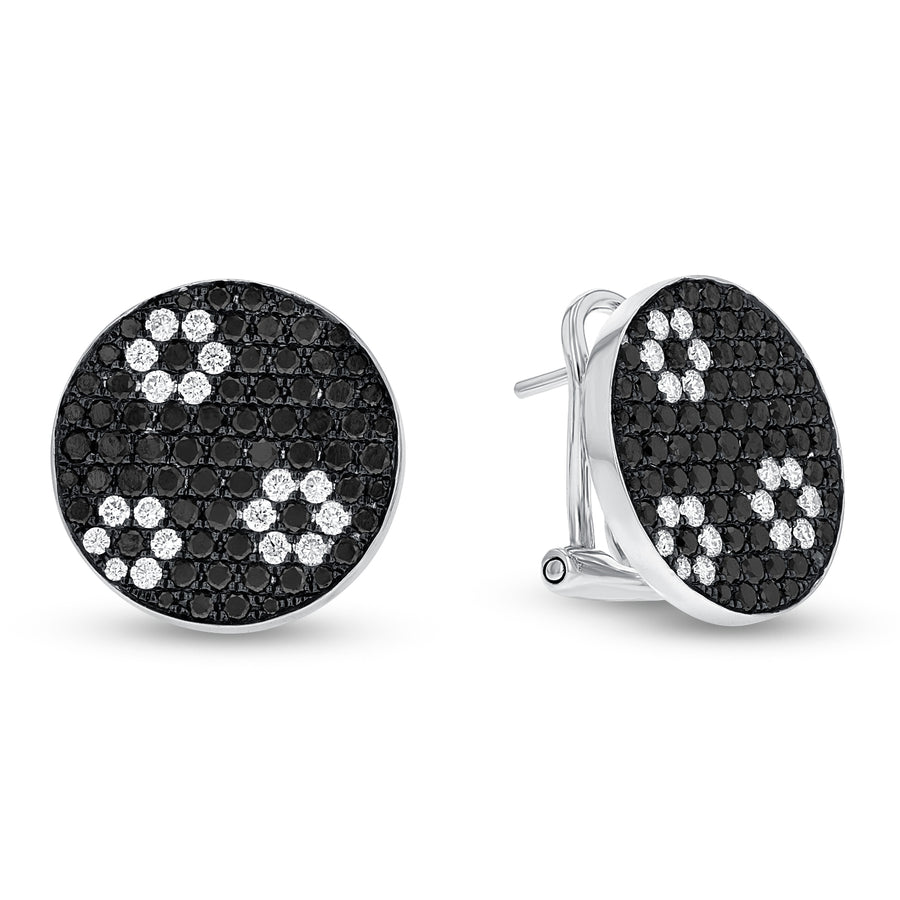 Black Diamond Omega Back Earrings - R&R Jewelers