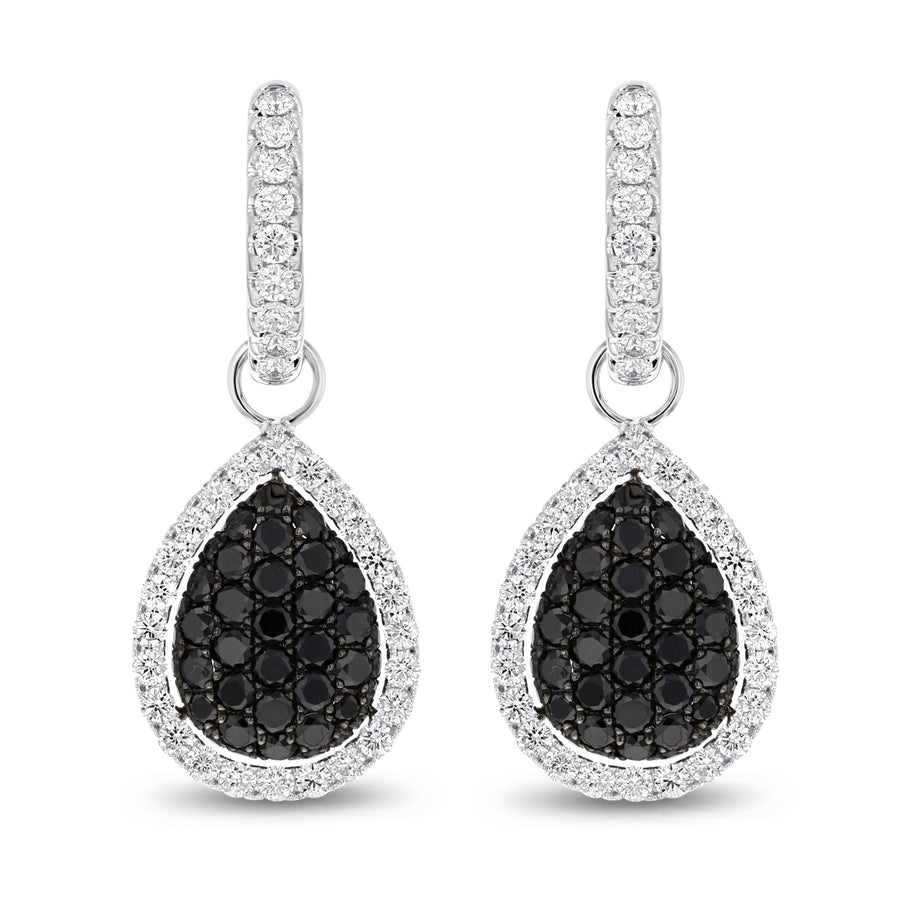 Pear Shape Black Diamond Drop Earrings - R&R Jewelers