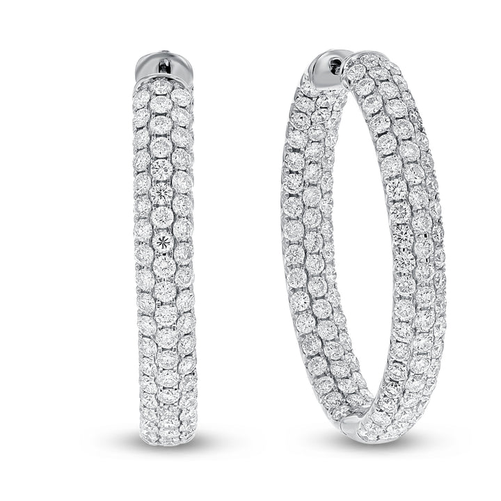 18K White Gold Hoop Earrings, 5.63 Carats