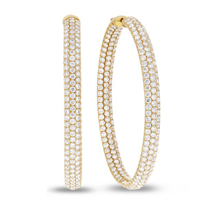 18K Yellow Gold Hoop Earrings, 9.07 Carats