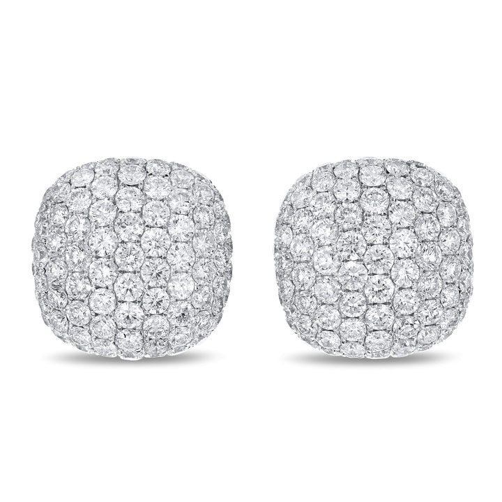 14K White Gold Diamond Earrings, 3.76 Carats