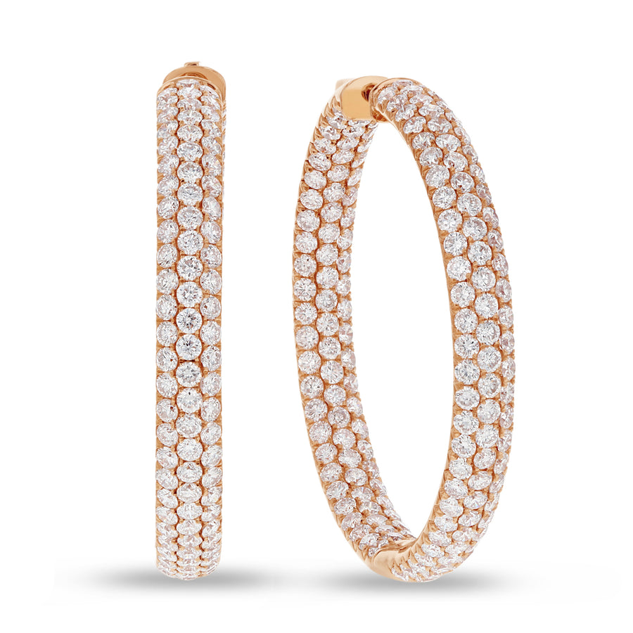 Inside Out Diamond Diamond Pavé Hoop Earrings, 9.57 Carats - R&R Jewelers