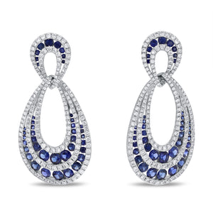 Channel Set Sapphire and Diamond Earrings - R&R Jewelers